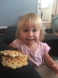 My daughter who handed me her waffle when she was done with it and smiling knowing full well it was not Whole 30 compliant!